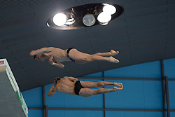 25.04.2014, Aquatics Centre, London, ENG, FINA, NVC Diving World Series 2014, Tag 1, im Bild Stephan Feck and Patrick Hausding of Germany competing in the men's synchro 10m platform // Stephan Feck and Patrick Hausding of Germany competing in the men's synchro 10m platform during day one of the FINA/NVC Diving World Series 2014 Aquatics Centre in London, Great Britain on 2014/04/25. EXPA Pictures © 2014, PhotoCredit: EXPA/ Mitchell Gunn<br /> <br /> *****ATTENTION - OUT of GBR*****