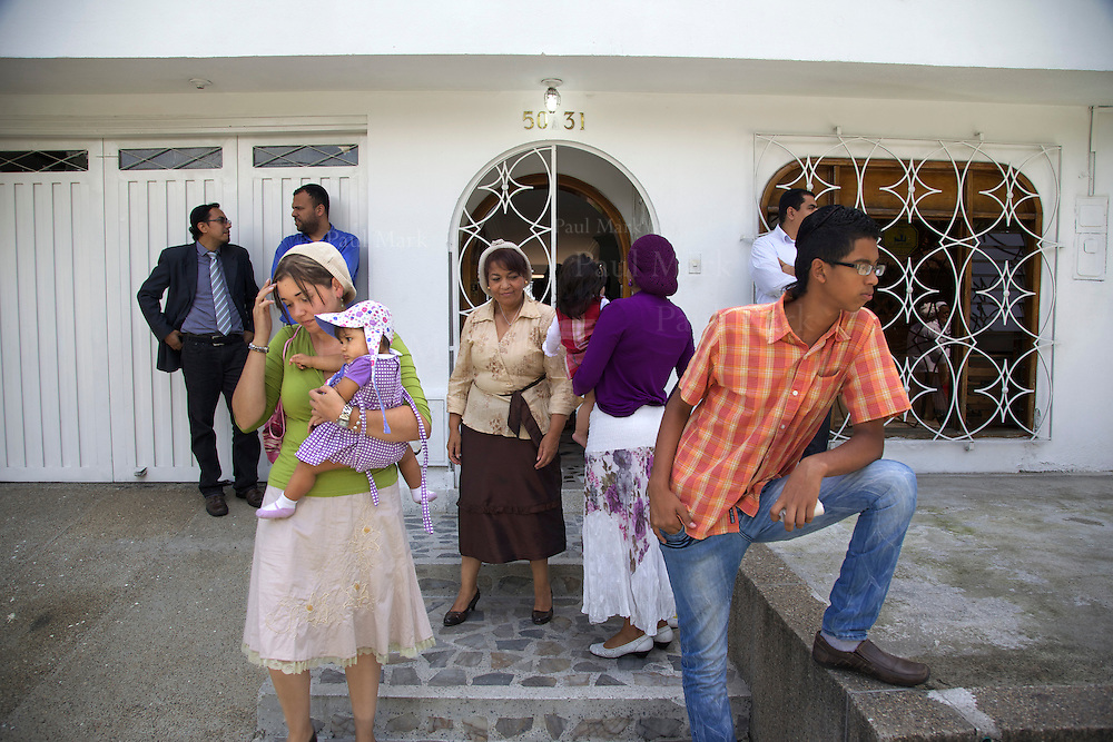 BELLO, COLOMBIA - November 4: Worshipers of Bello's Jewish community leave the synagogue after morning prayers.
