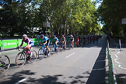 The main peloton is streched out on Stage 2 of the Madrid Challenge - a 100.3 km road race, starting and finishing in Madrid on September 16, 2018, in Spain. (Photo by Balint Hamvas/Velofocus.com)
