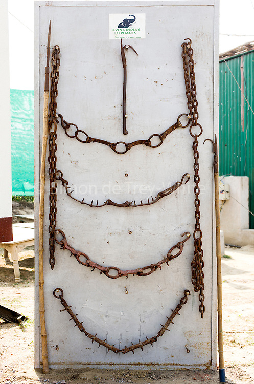 12th February 2015, Mathura, India. A display board of banned tools used by elephant handlers in India: spiked ankle chains used to tether and bullhooks (known as 'ankush') to inflict pain on elephants, at the Elephant Care and Conservation Centre, run by Wildlife SOS, Mathura, India on the 12th February 2015.<br />