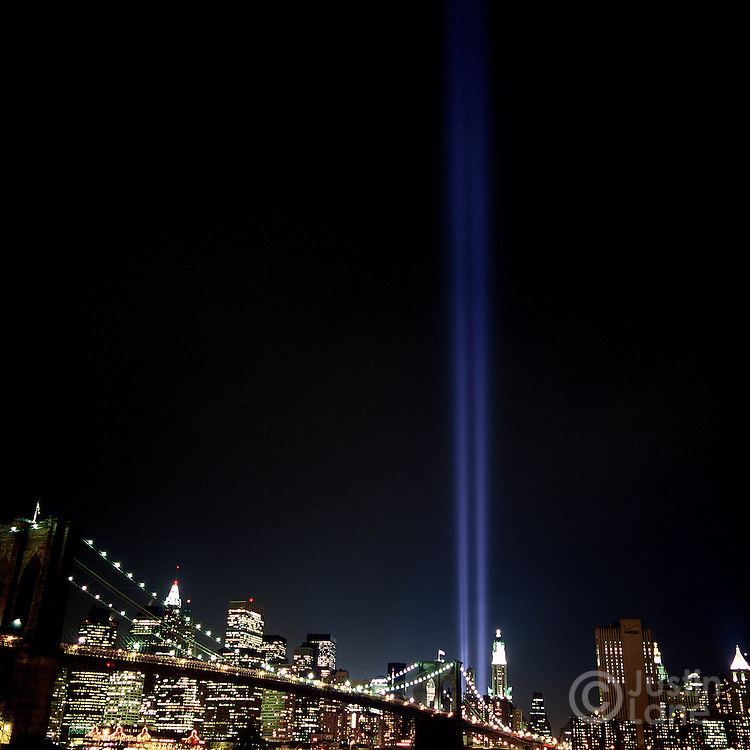 Six months after the September 11 attacks, the tribute in lights memorial fills the sky over lower Manhattan.