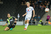 Bury midfielder (on loan from Manchester City) Kean Bryan (17) clears the ball during the EFL Sky Bet League 1 match between Milton Keynes Dons and Bury at stadium:mk, Milton Keynes, England on 27 September 2016. Photo by Dennis Goodwin.
