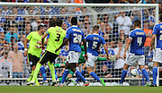 Brighton striker Tomer Hemed scores a second for Brighton during the Sky Bet Championship match between Ipswich Town and Brighton and Hove Albion at Portman Road, Ipswich, England on 29 August 2015.