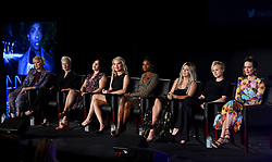 LOS ANGELES - AUGUST 9: (L-R) Eryn Krueger Mekash, Lou Eyrich, Alexis Martin Woodall, Leslie Grossman, Adina Porter, Billie Lourd, Alison Pill and Sarah Paulson onstage during 'Women of American Horror Story' panel during the FX portion of the 2017 Summer TCA press tour at the Zanuck Theatre on the Fox Studio Lot on August 9, 2017 in Los Angeles, California. (Photo by Frank Micelotta/FX/PictureGroup) *** Please Use Credit from Credit Field ***