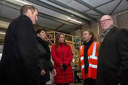 Pictured: Jon Sparkes, Elena Whitham, Aileen Campbell, Lynne Collie, Depot Manager and Kevin Stewart.<br /> <br /> Today, Communities Secretary Aileen Campbell was joined by Councillor Elena Whitham, Cosla Community Wellbeing Spokesperson, Kevin Stewart, Minister for Local Government, Housing and Planning and Jon Sparkes Chief Executive of Crisis as she visited Cyrenians' Good Food depot where she met staff at the depot and toured the facility which redistributes surplus food to not-for-profit organisations. <br /> <br /> Ger Harley | EEm 27 November 2018