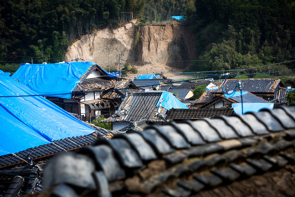 KUMAMOTO, JAPAN - APRIL 20: A broken roof of houses is seen after an earthquake in the morning on April 20, 2016 in Mashiki town, Kumamoto, Japan. As of April 45 people were confirmed dead after strong earthquakes rocked Kyushu Island of Japan. Nearly 11,000 people are reportedly evacuated after the tremors Thursday night at magnitude 6.5 and early Saturday morning at 7.3.<br /> <br /> Photo: Richard Atrero de Guzman