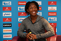 Shelly-Ann Fraser-Pryce of Jamaica answers questions during the Press Conference of the Diamond league, Meeting Areva 2015, at Mercure Paris Centre Eiffel, Paris, France, on July 3, 2015 - Photo Jean-Marie Hervio / KMSP / DPPI