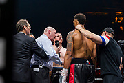 Tony Yoka (fra) and Cyril Leonet (fra) during the Boxing event, La Conquete Tony Yoka, round 4, heavyweight boxing bout between Tony Yoka (FRA) and Cyril Leonet (FRA) on April 7, 2018 at Dome de Paris - Palais des Sports in Paris, France - Photo Pierre Charlier / ProSportsImages / DPPI