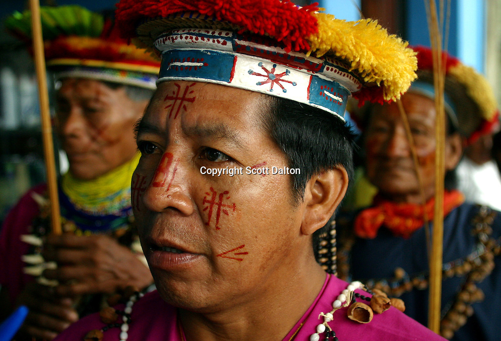 Elias Piyahuaje, a leader of the Secoya Indian tribe, attends a protest against Texaco in Lago Agrio, in northern Ecuador, on Tuesday, October 21, 2003. Residents of Lago Agrio and neighboring towns, including many indigenous communities, claim that the U.S. oil company Texaco is responsible for contaminating the region during their years of operating the oil fields in the region. They are arguing in court that the contamination caused environmental damage and numerous cases of cancer and other illnesses throughout the area. (Photo/Scott Dalton)