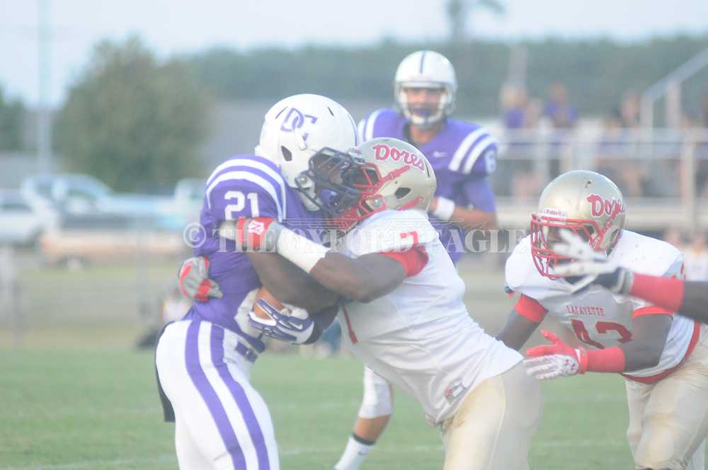 Lafayette High's Quin Jones (7) vs. Desoto Central on Friday, September 6, 2013. Lafayette High won 21-6.