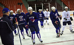 Anze Kopitar (at left Mats Waltin) at practice of Slovenian national team at Hockey IIHF WC 2008 in Halifax,  on May 04, 2008 in Metro Center, Halifax, Canada.  (Photo by Vid Ponikvar / Sportal Images)