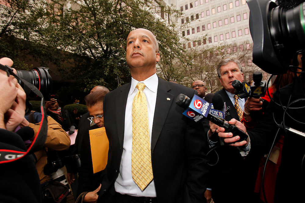 Former New Orleans Mayor Ray Nagin walks out of Federal Court after being found guilty of 20 of 21 counts of corruption on Wednesday, February 12, 2014 in New Orleans, Louisiana. He exited with his attorney Robert Jenkins and was seen walking arm and arm with his wife Seletha Smith.