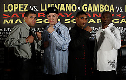 Dec 3, 2009; New York, NY, USA; (l to r) Juan Manuel Lopez, Steven Luevano, Yuriokis Gamboa and Rogers Mtagwa pose at the press conference announcing their January 23, 2010 fights at Madison Square Garden.