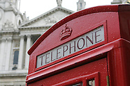 St Pauls cathedral, red phone box, London, Telephone, phone,