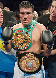 July 22, 2006 - Carlos Baldomir celebrates after his victory over Arturo Gatti to retain the WBC Welterweight Championship at Boardwalk Hall in Atlantic City, NJ.
