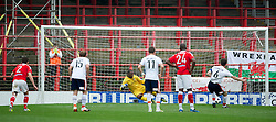 WREXHAM, WALES - Monday, May 7, 2012: Wrexham's goalkeeper Joslain Mayebi is beaten from the penalty spot by Luton Town's George Pilkington for the opening goal during the Football Conference Premier Division Promotion Play-Off 2nd Leg at the Racecourse Ground. (Pic by David Rawcliffe/Propaganda)