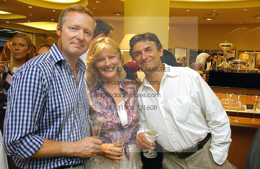 Left to right, RORY BREMNER, the COUNTESS OF MARCH and ALAN DE CADENET at a party hosted by Links at their store in Sloane Square, London to celebrate the forthcoming Glorious Goodwood Racing festival held on 26th July 2006.<br />