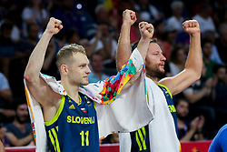 Jaka Blazic of Slovenia and Sasa Zagorac of Slovenia react during basketball match between National Teams of Slovenia and Spain at Day 15 in Semifinal of the FIBA EuroBasket 2017 at Sinan Erdem Dome in Istanbul, Turkey on September 14, 2017. Photo by Vid Ponikvar / Sportida