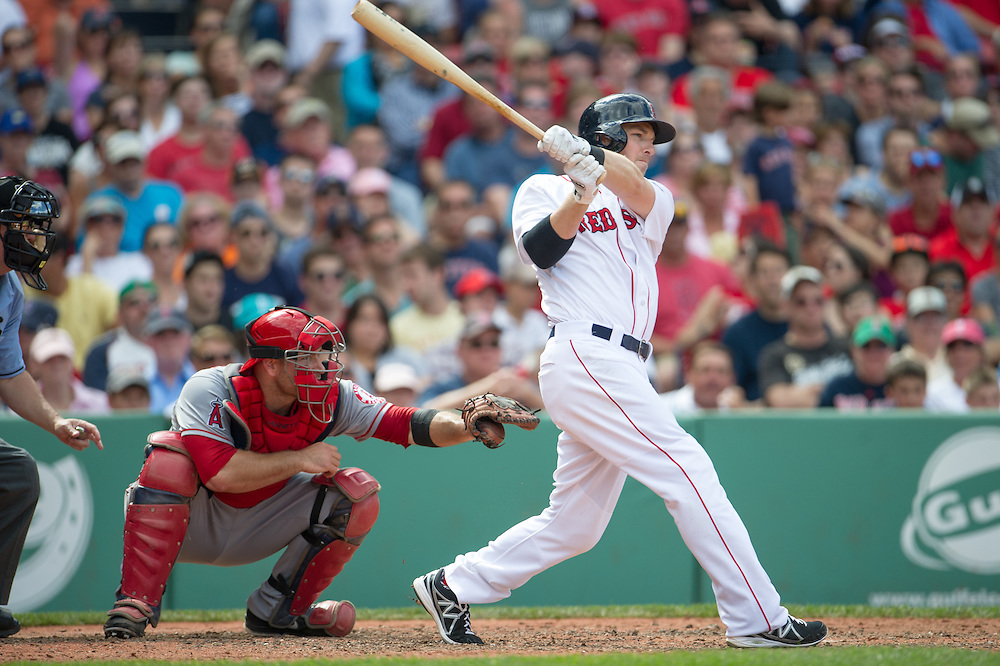 BOSTON, MA - JUNE 09: Stephen Drew #7 of the Boston Red Sox bats during the game against the Los Angeles Angels at Fenway Park in Boston, Massachusetts on June 9, 2013. (Photo by Rob Tringali) *** Local Caption *** Stephen Drew