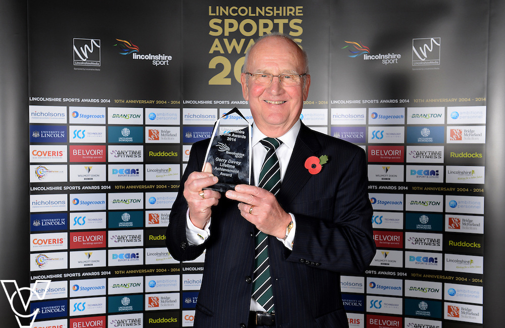 Lincolnshire Sport Awards 2014.<br /> <br /> Lifetime Achievement Award<br /> Sponsored by SCS Technology Solutions<br /> Winner: Gerry Davey<br /> Runners-up: Ian Turner, Rod Tyler<br /> <br /> Picture: Jane Harrison/Chris Vaughan Photography for Lincolnshire Sport<br /> Date: November 6, 2014