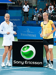 Winner of the tournament Anna Chakvetadze of Russia and Johanna Larsson of Sweden at final match of Singles at Banka Koper Slovenia Open WTA Tour tennis tournament, on July 25, 2010 in Portoroz / Portorose, Slovenia. (Photo by Matic Klansek Velej / Sportida)