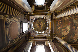 © Licensed to London News Pictures. 25/09/2016. LONDON, UK.  The dome ceiling at the Painted Hall. The 300 year old Painted Hall by James Thornhill at the Old Royal Naval College closes today for two years. Major restoration work to remove layers of dirt to the fine dining room will be undertaken in the main hall, ceiling and dome. The project has been awarded a £3.1m Heritage Lottery grant.  Photo credit: Vickie Flores/LNP