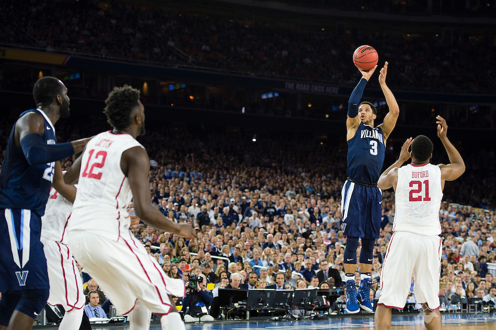 02 APR 2016: Guard Josh Hart (3) of Villanova University shoots a three pointer over Forward Dante Buford (21) of the University of Oklahoma during the 2016 NCAA Men's Division I Basketball Final Four Semifinal game held at NRG Stadium in Houston, TX. Villanova defeated Oklahoma 95-51 to advance to the championship game. Brett Wilhelm/NCAA Photos