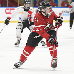 WHITBY, - Dec 13, 2015 -  WJAC Game 2- Team Switzerland vs Team Canada East at the 2015 World Junior A Challenge at the Iroquois Park Recreation Complex, ON. Josh Kosack #21 of Team Canada East follows the play during the first period.<br /> (Photo: Andy Corneau / OJHL Images)