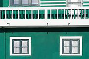 Bright painted house in Costa Nova do Prado, a village with many holiday homes, near Aveiro,  Portugal