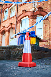 © Licensed to London News Pictures. 02/10/2017. BANBURY, UK.  General view of the scene in Newland Road, Banbury where Thames Valley Police are investigating a double murder. They where called at 6:45pm Sunday (1/10) evening and found the bodies of two men inside a downstairs flat. A 53 year old man has been arrested. (Photographers note: The entrance at the front of the property is to an upstairs flat.)  Photo credit: Cliff Hide/LNP