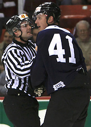 Referee and Raitis Ivanans at ice-hockey match Canada vs Latvia (with replika jerseys from year 1936) at Preliminary Round (group B) of IIHF WC 2008 in Halifax, on May 04, 2008 in Metro Center, Halifax, Nova Scotia, Canada. (Photo by Vid Ponikvar / Sportal Images)