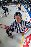 KELOWNA, CANADA - SEPTEMBER 24: Linesman Dustin Minty stretches on the ice during warm up between the Kelowna Rockets and the Kamloops Blazers on September 24, 2016 at Prospera Place in Kelowna, British Columbia, Canada.  (Photo by Marissa Baecker/Shoot the Breeze)  *** Local Caption *** Dustin Minty;