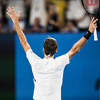 Roger Federer of Switzerland reacts on match point during the championship match of the 2018 Australian Open on day 14 at Rod Laver Arena in Melbourne, Australia on Sunday afternoon January 28, 2018.<br /> (Ben Solomon/Tennis Australia)