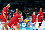 Katowice, Poland - 2017 September 01: Zygmunt Chajzer tv journalist (Ambassador of Special Olympics Poland) spikes the ball while Opening Ceremony during European Unified Volleyball Tournament 2017 at Spodek Hall on September 01, 2017 in Katowice, Poland.<br /> <br /> Adam Nurkiewicz declares that he has no rights to the image of people at the photographs of his authorship.<br /> <br /> Picture also available in RAW (NEF) or TIFF format on special request.<br /> <br /> Any editorial, commercial or promotional use requires written permission from the author of image.<br /> <br /> Image can be used in the press when the method of use and the signature does not hurt people on the picture.<br /> <br /> Mandatory credit:<br /> Photo by © Adam Nurkiewicz / Mediasport