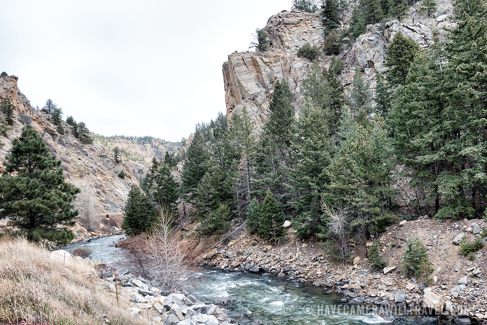 Cliffs along Clear Creek in Clear Creek Canyon on Route 6 near Golden Colorado.