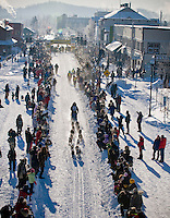 A Yukon Quest dog sled team leaves the start line in Whitehorse en route to Fairbanks, Alaska, 1000 miles away.