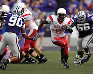 Illinois State running back Pierre Rembert (5) rushes up field against Kansas State's Eric Childs (90) in the first half at Bill Snyder Family Stadium in Manhattan, Kansas, September 2, 2006.  The Wildcats beat the Redbirds 24-23.