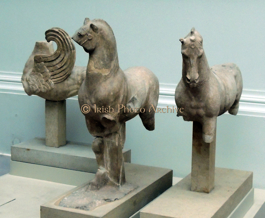 Statues from Pergamum. On the roof of the Pergamum altar there were various small statues of gods, teams of horses, centaurs and lion griffins.