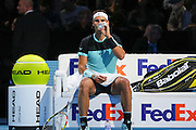 Rafael Nadal having a break between games during the ATP World Tour Finals at the O2 Arena, London, United Kingdom on 20 November 2015. Photo by Phil Duncan.
