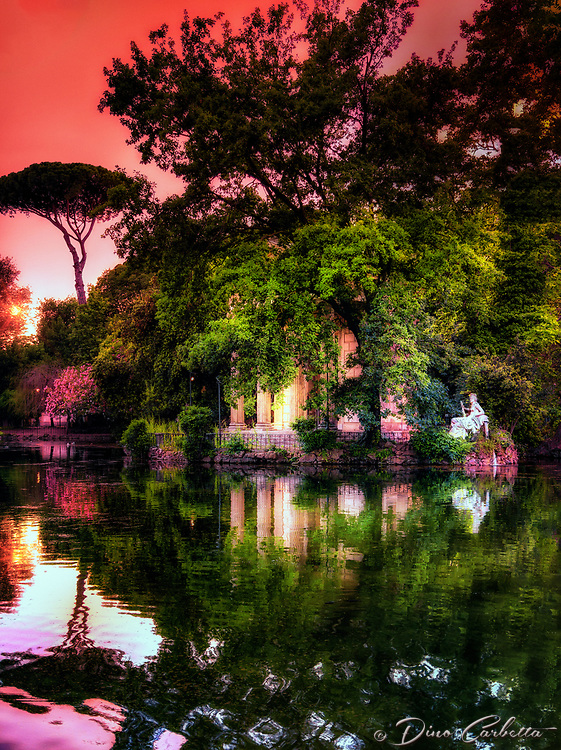 """Panoramic sunset reflections of Villa Borghese – Rome""…<br />