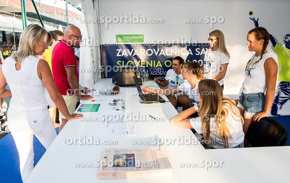 Info point during Tennis tournament  ATP Challenger Zavarovalnica Sava Slovenia Open 2017, on August 11, 2017 in Sports centre, Portoroz/Portorose, Slovenia. Photo by Vid Ponikvar / Sportida