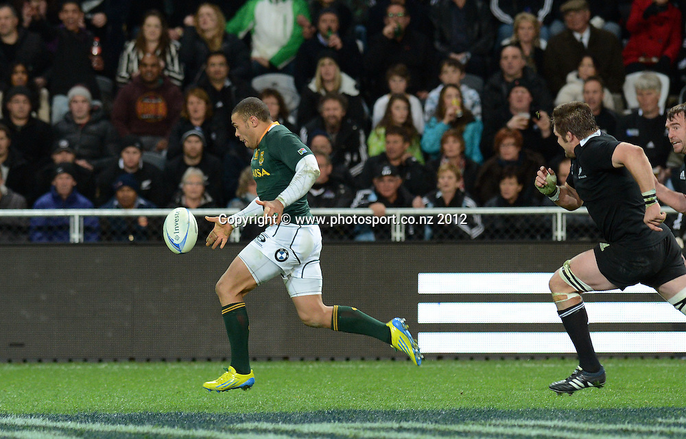Bryan Habana on his way to the try line. The Rugby Championship test match, New Zealand All Blacks versus South Africa Springboks. Dunedin. New Zealand. Saturday 15 September 2012. Mandatory Photo Credit: © Andrew Cornaga/Photosport.co.nz