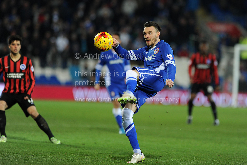 Scott Malone of Cardiff city in action.Skybet football league championship match, Cardiff city v Brighton &amp; Hove Albion at the Cardiff city Stadium in Cardiff, South Wales on Tuesday 10th Feb 2015.<br /> pic by Andrew Orchard, Andrew Orchard sports photography.