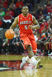 04 February 2012:  Jalen Crawford during an NCAA Missouri Valley Conference mens basketball game where the Bradley Braves lost to the Illinois State Redbirds 78 - 48 in Redbird Arena, Normal IL