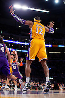 16 November 2012: Center (12) Dwight Howard of the Los Angeles Lakers in game action against the Phoenix Suns during the second half of the Lakers 114-102 victory over the Suns at the STAPLES Center in Los Angeles, CA.