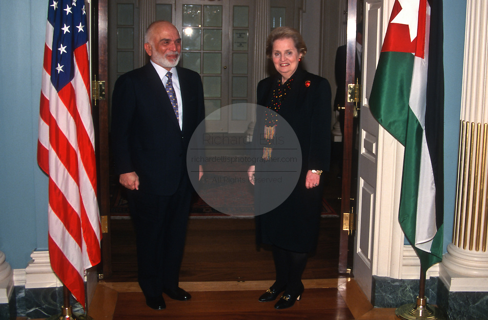 Secretary of State Madeleine Albright meets with King Hussein of Jordan to discuss the Middle East peace process April 1,1997, at the State Department in Washington, DC.