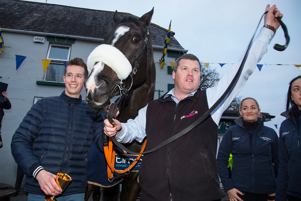 19th March 2016, Gordon Elliott trained Don Cossack homecoming to Summerhill<br /> Trainer Gordon Elliott & Jockey Bryan Cooper pictured with Don Cossack in summerhill<br /> Photo: David Mullen /www.cyberimages.net / 2016