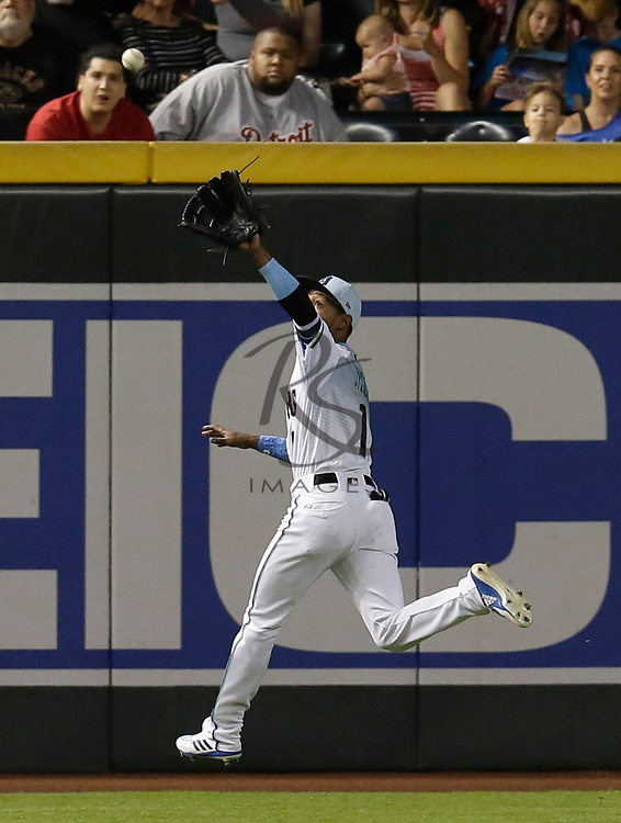 Arizona Diamondbacks center fielder Jarrod Dyson (1) in the first inning during a baseball game against the New York Mets, Sunday, June 17, 2018, in Phoenix. (AP Photo/Rick Scuteri)