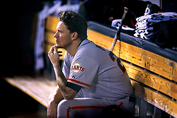 Jake Peavy sits in the dugout during Game 6 of the World Series, 2014 World Series Champion Giants