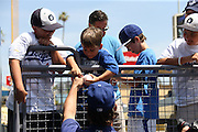 LOS ANGELES, CA - JUNE 15:  Fans get autographs before the Los Angeles Dodgers game against the Arizona Diamondbacks at Dodger Stadium on Sunday, June 15, 2014 in Los Angeles, California. The Diamondbacks won the game 6-3. (Photo by Paul Spinelli/MLB Photos via Getty Images)